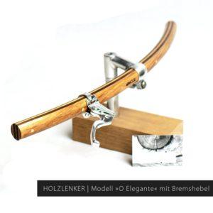 Holz Fahrradlenker gebogene Form | Modell »Wilhelm« mit Bremshebel »Dia-Compe MX-122«