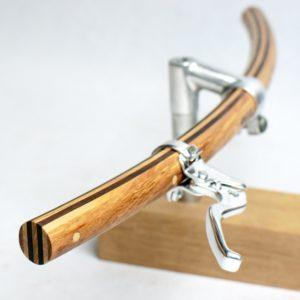 Holz Fahrradlenker gebogene Form   Modell »Wilhelm« mit Bremshebeln von Dia-Compe MX-122