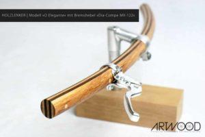 Holz Fahrradlenker in gebogener Form | Modell »Wilhelm« mit Bremshebel von »Dia-Compe MX-122«