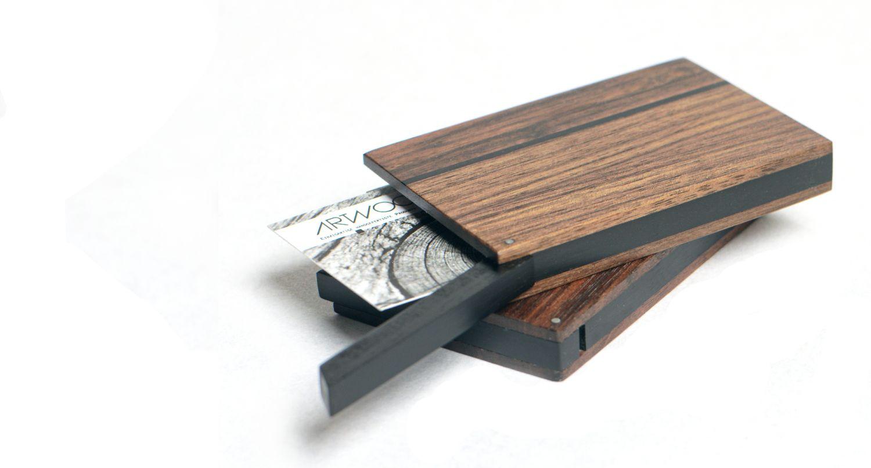 Visitenkartenetui Holz dunkel