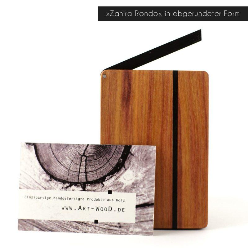 Visitenkartenetui »Zahira Rondo« aus Zwetschgenholz in abgerundeter Form