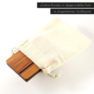 Visitenkartenetui »Zahira Rondo« aus Zwetschgenholz mit Stoffbeutel
