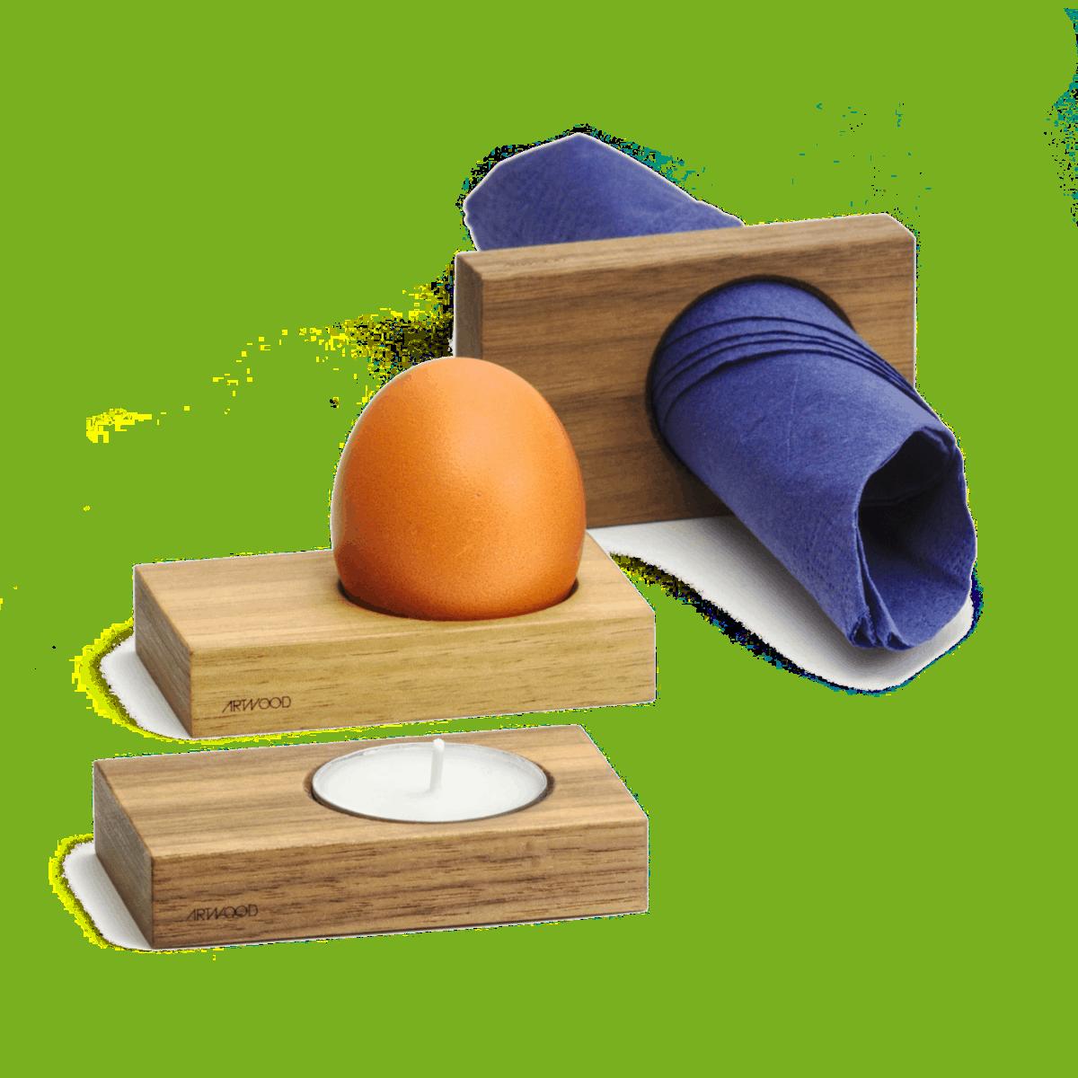 Serviettenring, Eierbecher und Teelichthalter in einem Stück Holz von ArtWooD