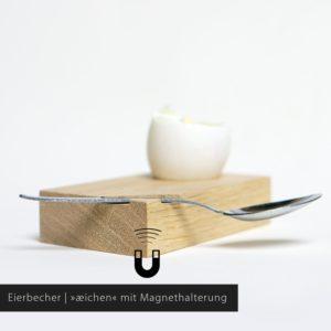Holz Eierbecher aeichen aus Eiche mit Magnethalterung
