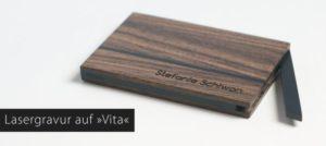 Holz Visitenkartenetui mit Lasergravur von ArtWooD