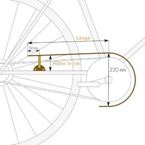 Kettenschutz »Kiara« Maße am Fahrrad