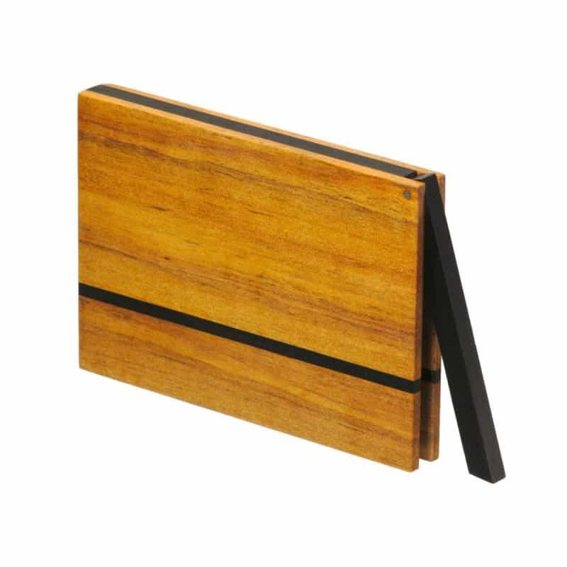 Visitenkartenetui aus Birnbaumholz, kantige Form