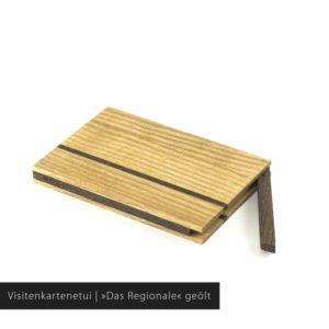 Holz Visitenkartenetui aus Esche und geräucherter Eiche »Sophie« mit geölter Oberfläche