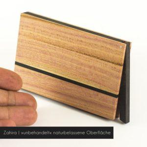 Das Visitenkartenetui »Zahira« aus Zwetschgenholz mit naturbelassener Oberfläche
